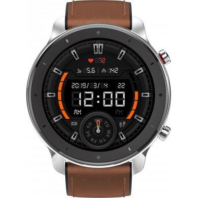 Смарт-часы Xiaomi Amazfit GTR 47mm серебристый с коричневым ремешком
