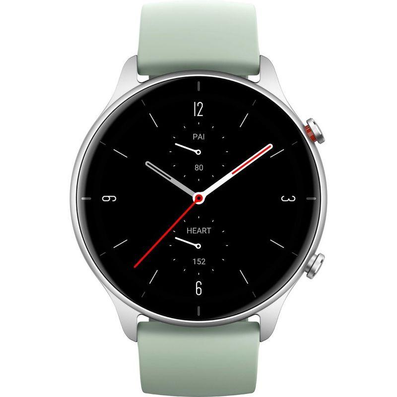 Смарт-часы Xiaomi Amazfit GTR 2e серебристый с зеленым ремешком
