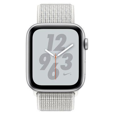 Смарт-часы Apple Watch Series 4 Nike 44mm серебристый с белым ремешком