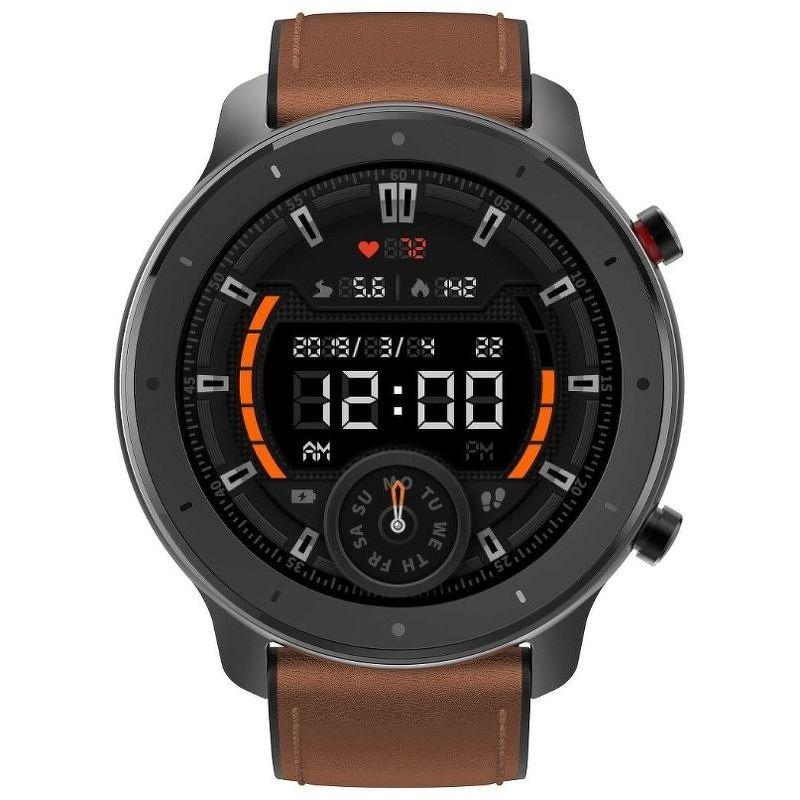Смарт-часы Xiaomi Amazfit GTR 47mm черный с коричневым ремешком