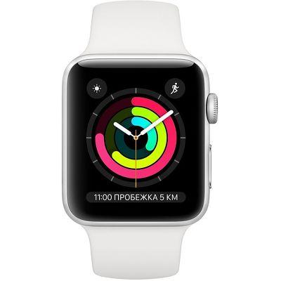 Смарт-часы Apple Watch Series 3 38mm серебристый с белым ремешком