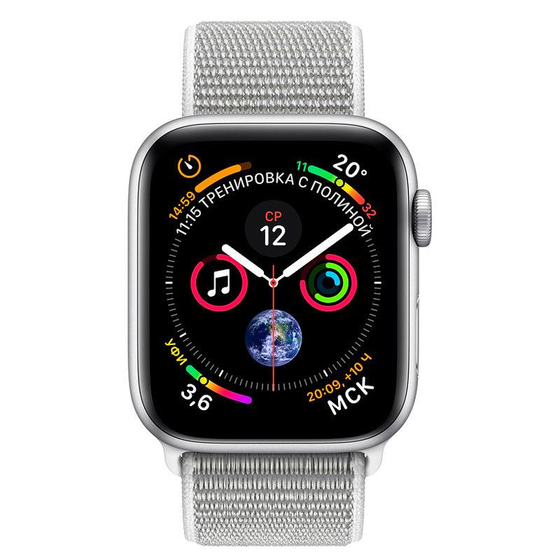 Смарт-часы Apple Watch Series 4 44mm серебристый с белым ремешком