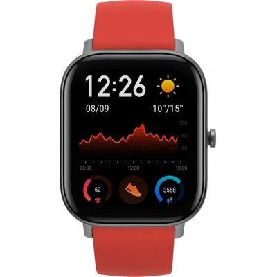 Смарт-часы Xiaomi Amazfit GTS серый с красным ремешком