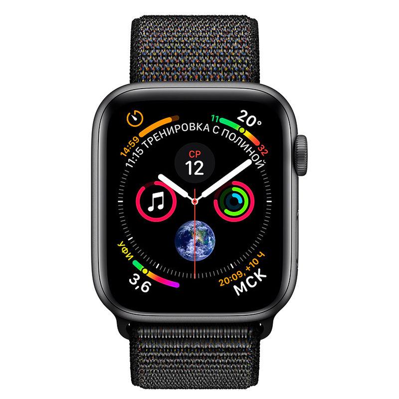 Apple Watch Series 4, 40mm, Space Gray Aluminum Case Black Sport Loop