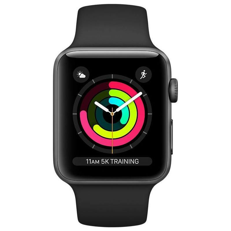 Apple Watch Series 3, 42mm, Space Gray Aluminum Case Black Sport Band