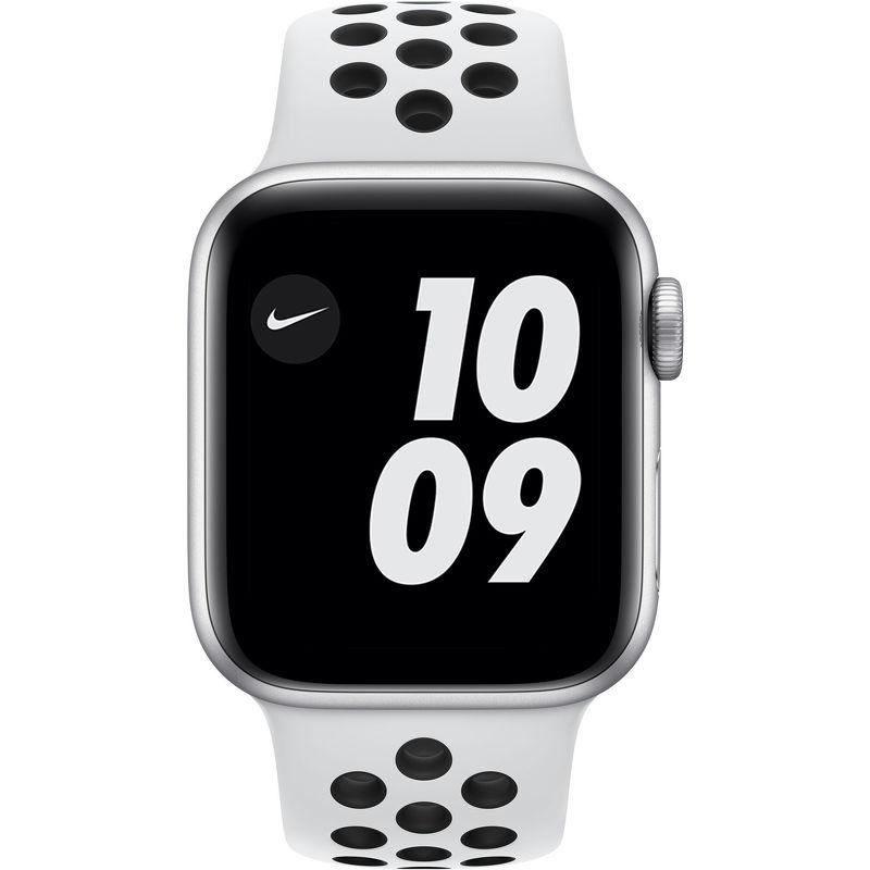 Смарт-часы Apple Watch Series 6 Nike 40mm серебристый с белым ремешком