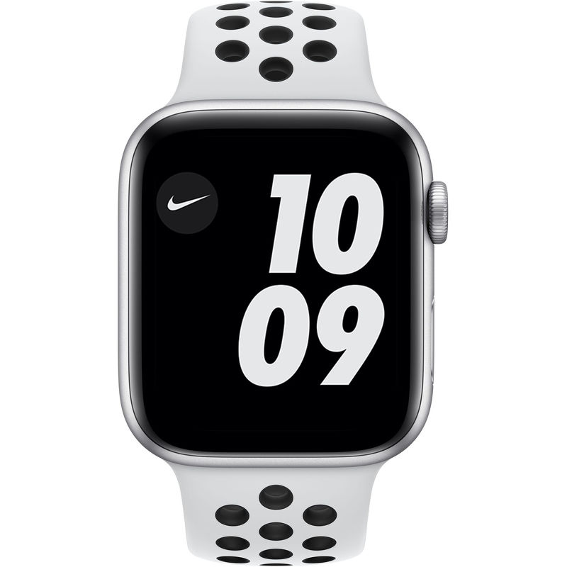 Смарт-часы Apple Watch Series 6 Nike 44mm серебристый с белым ремешком