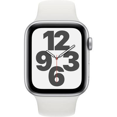 Смарт-часы Apple Watch SE 44mm серебристый с белым ремешком