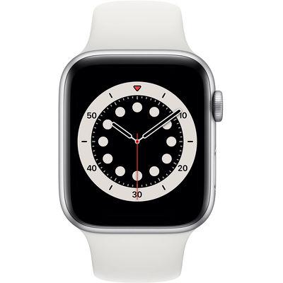 Смарт-часы Apple Watch Series 6 44mm серебристый с белым ремешком
