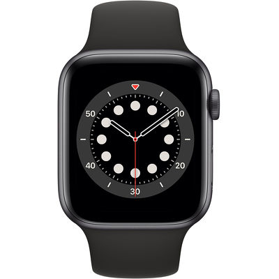 Смарт-часы Apple Watch Series 6 44mm серый с черным ремешком