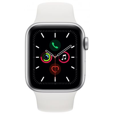 Смарт-часы Apple Watch Series 5 40mm серебристый с белым ремешком