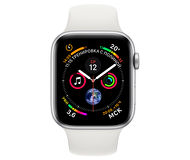 Apple Watch Series 4, 44mm, Silver Aluminum Case White Sport Band