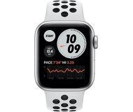 Смарт-часы Apple Watch SE Nike 44mm серебристый с белым ремешком