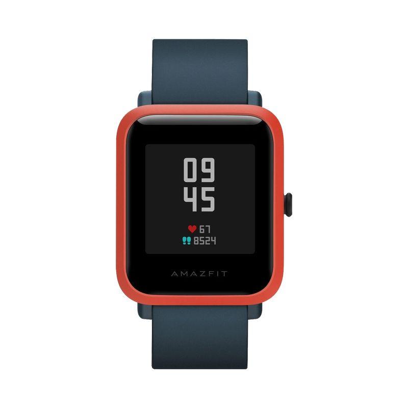 Смарт-часы Xiaomi Amazfit Bip S красно-оранжевый с синим ремешком